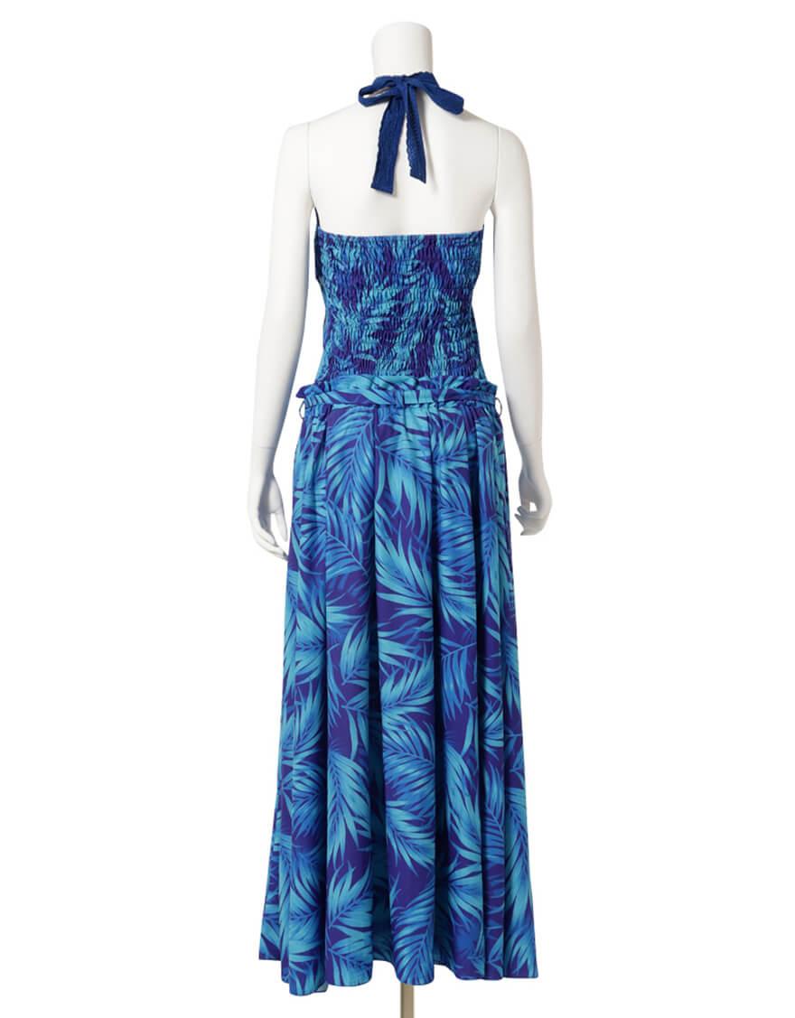 【ドレス,ポリエステル生地ドレス】アメリカンスリーブトップス+フレアスカート(パームリーフ)ブルー