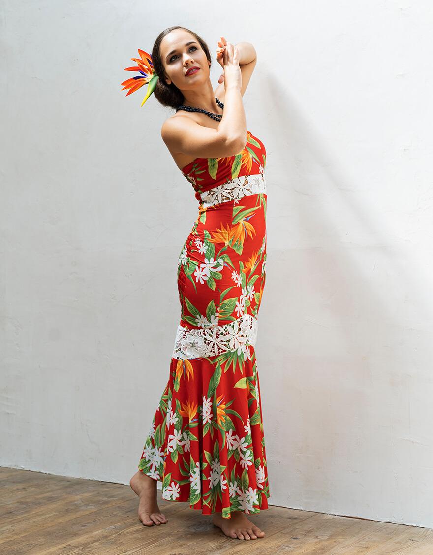 【ドレス,ストレッチ生地ドレス】バイカラーマーメイドベアドレス(ノアノア)レッド