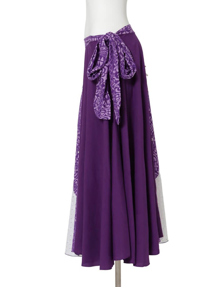【レーヨン生地スカート,スカート】グラデーションスカート(タパオ)パープル