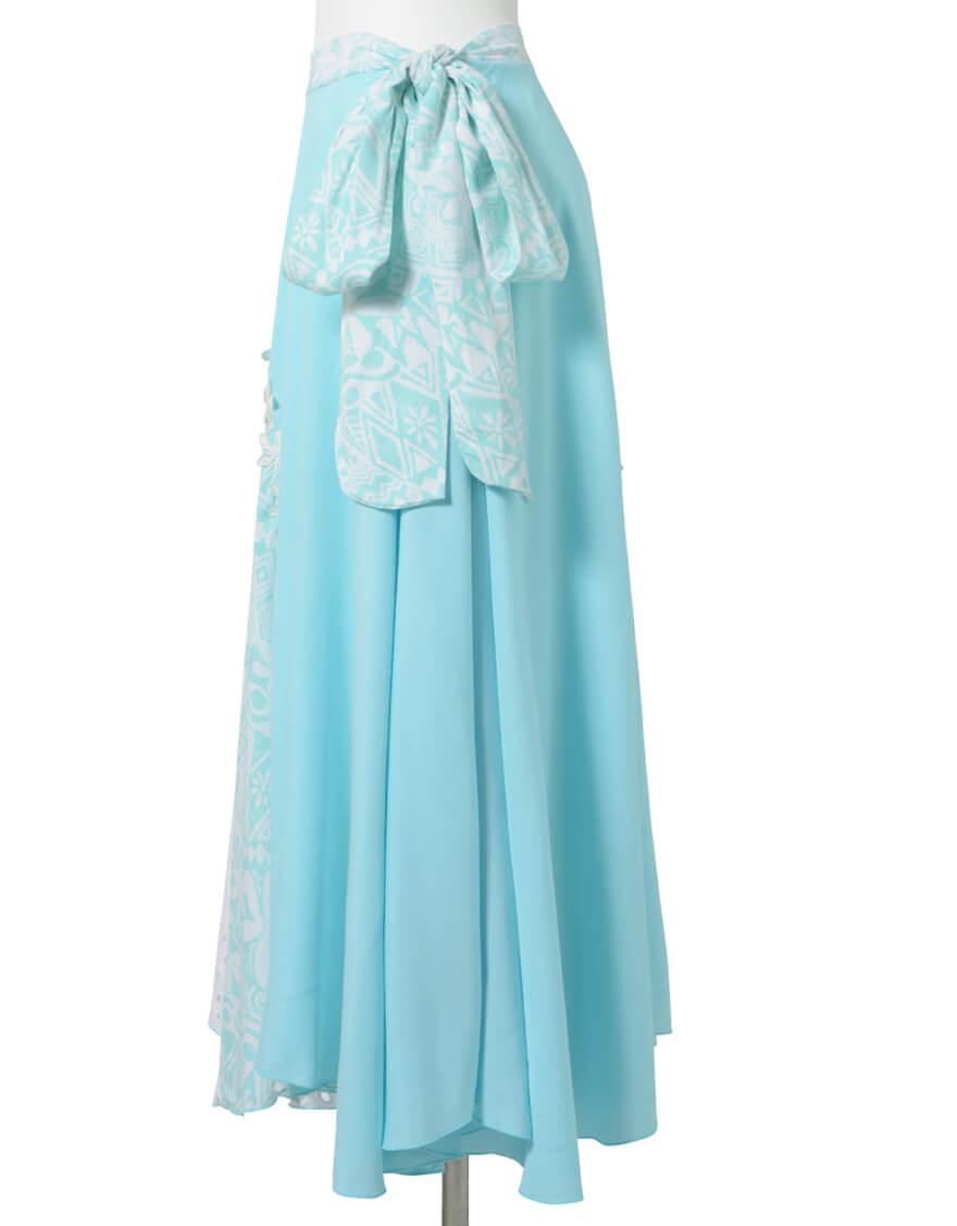 【レーヨン生地スカート,スカート】グラデーションスカート(ティアレライン)アクア