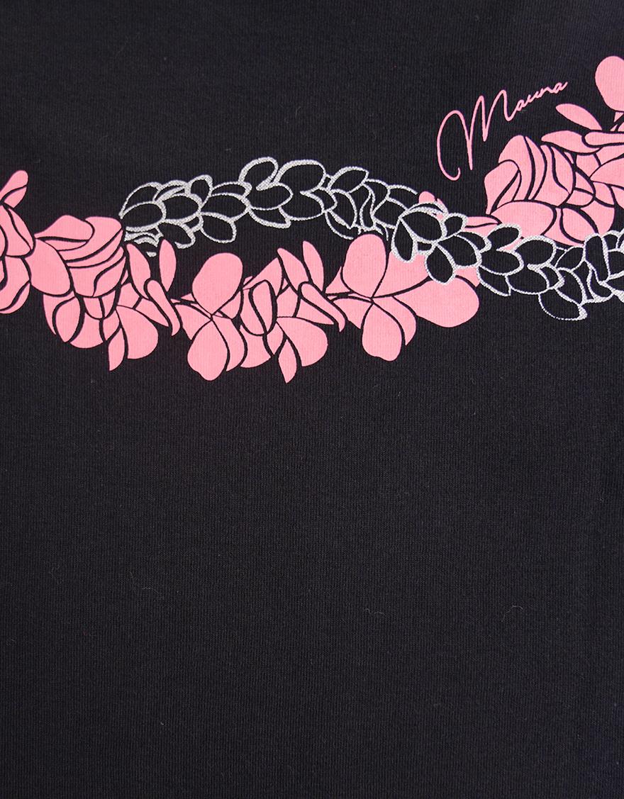 【レッスンTシャツ,レッスンアイテム】5分袖エレガントネックTシャツ(プルメリアダブルレイ)ブラック