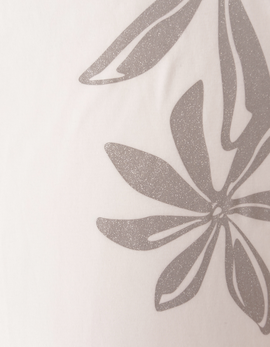 【レッスンTシャツ,レッスンアイテム】5分袖エレガントネックTシャツ(ラメティアレ)ホワイト