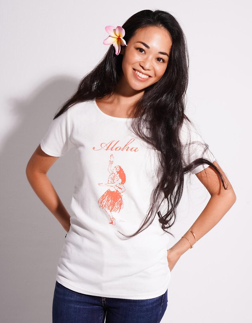 【レッスンTシャツ,レッスンアイテム】半袖カジュアルネックTシャツ(アロハフラガール)ホワイト