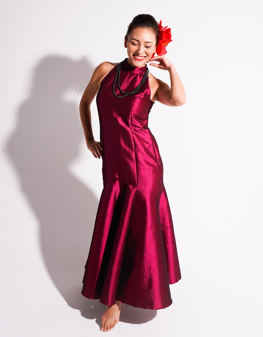 【ドレス,シャイニー生地ドレス】アメリカンスリーブマーメイドドレス(ストレッチシャンブレー)プラム