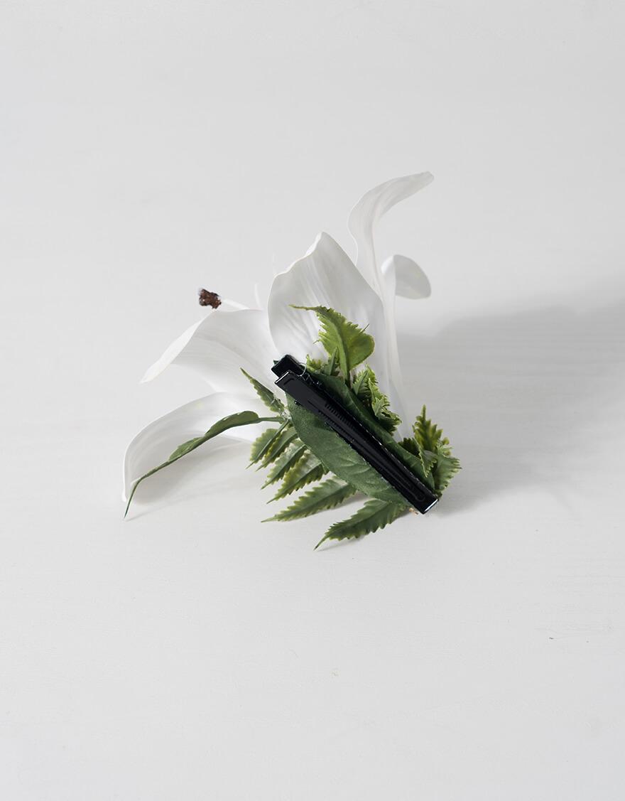 【クリップ/ピック,ヘアーアクセサリー】リリー1輪クリップ(ホワイト)