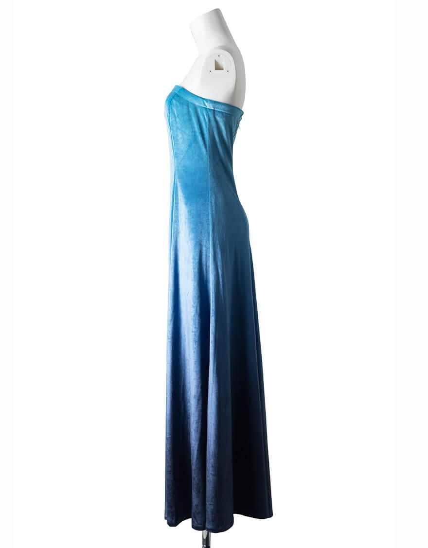 【ドレス,ベロア生地ドレス】ベアドレス(ベロア)ブルーグラデーション
