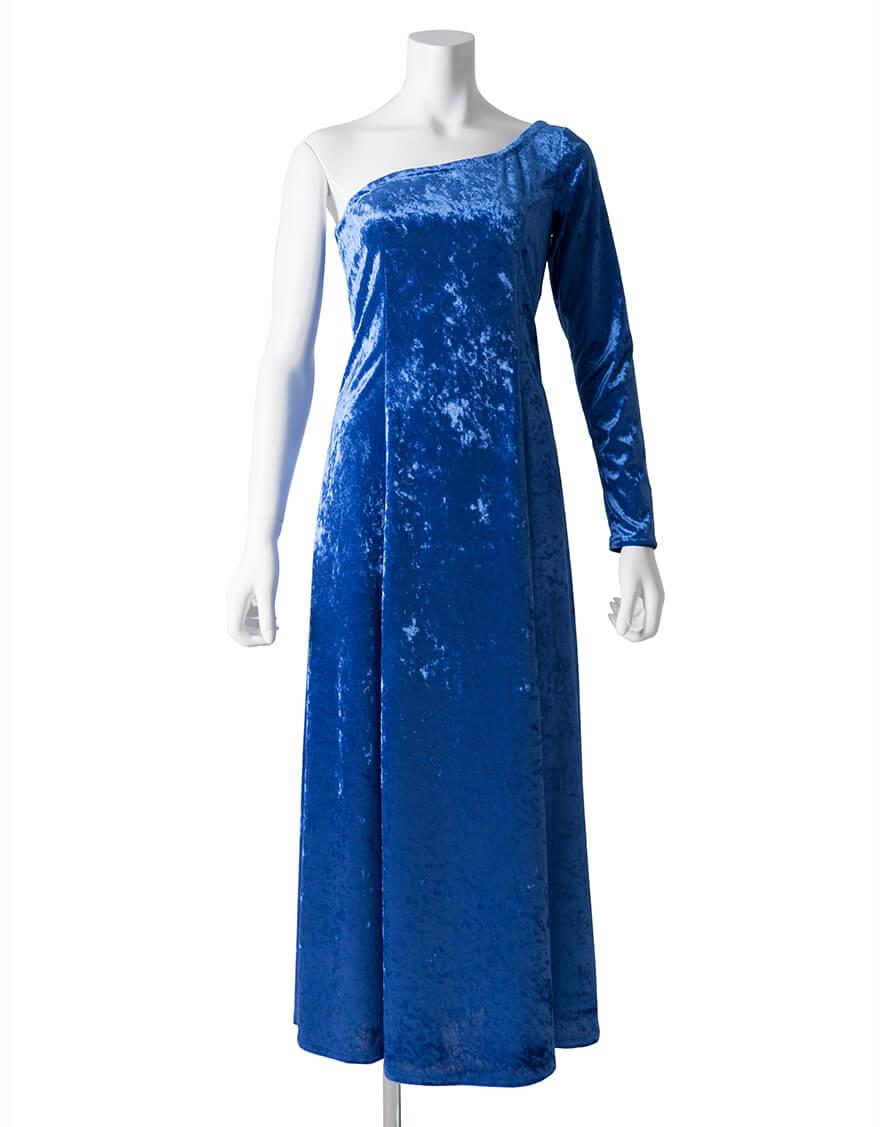 【ドレス,ベロア生地ドレス】ワンスリーブドレス(シャイニーベロア)ブルー