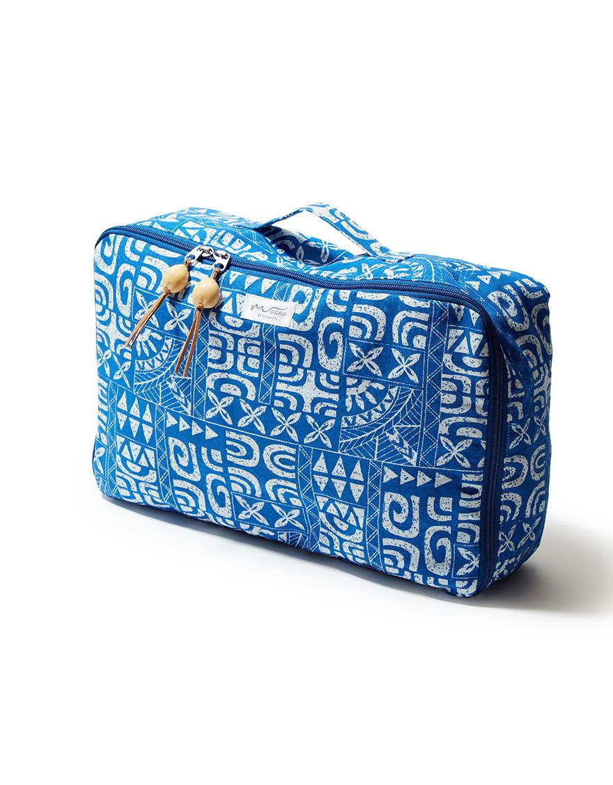 【バック/ポーチ,ハワイアングッズ】スクエアポーチ(タパオ)ブルー