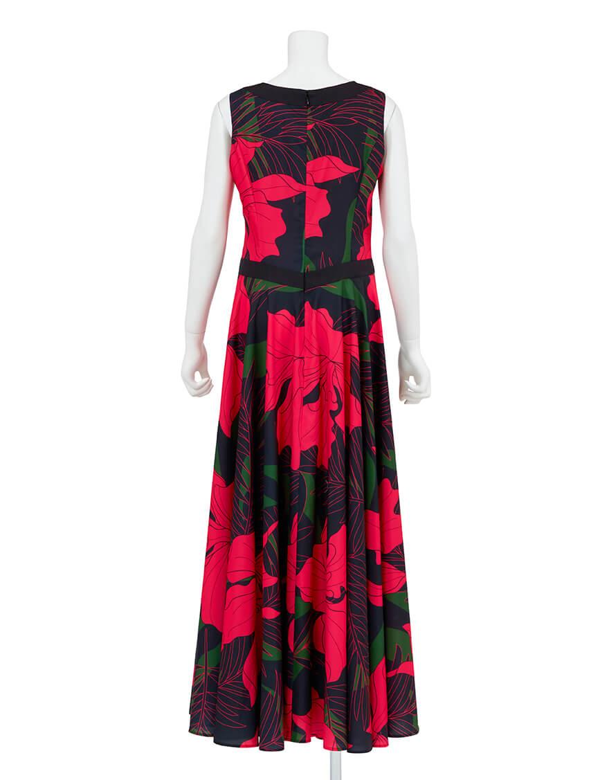 【ドレス,シャイニー生地ドレス】ノースリーブボートネックフレアドレス(カトレア)ピンク