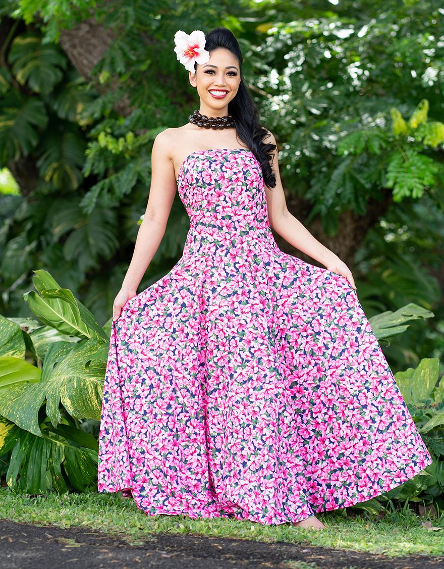 【ドレス,シャイニー生地ドレス】ベアトップラウンドフレアドレス(ハイビスカスピティ)ネイビー