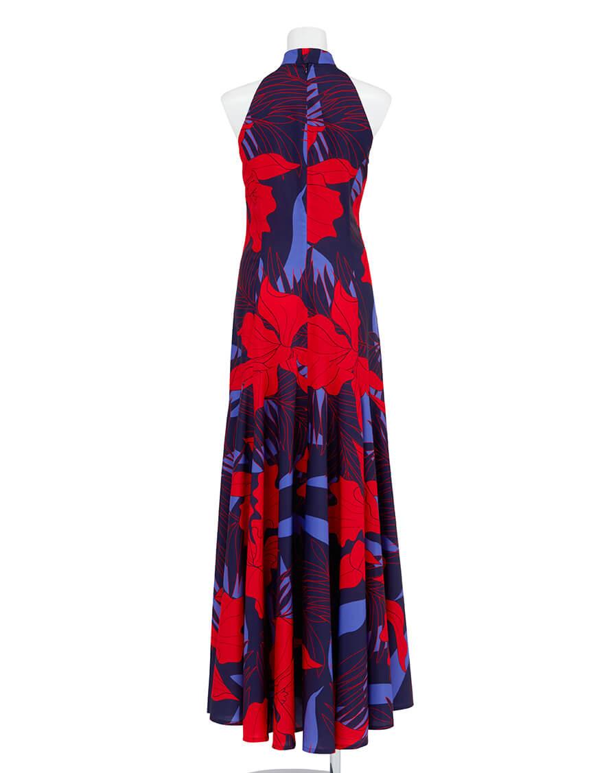 【ドレス,シャイニー生地ドレス】アメリカンスリーブマーメイドドレス(カトレア)レッド