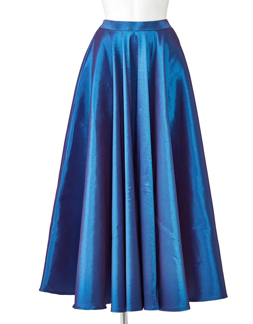【ポリエステル生地スカート,スカート】フレアスカート(ストレッチシャンブレー)ブルーパープル